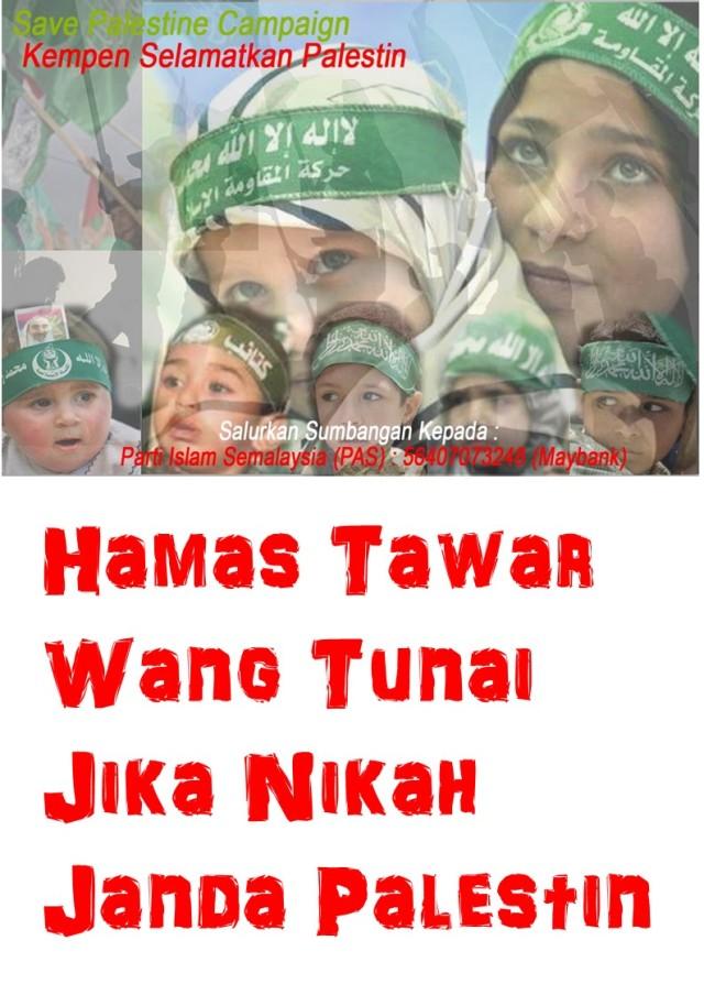 Hamas tawar wang tunai jika nikah janda Plastin